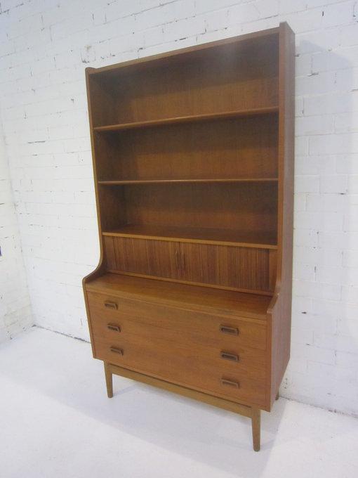 Bornholm Mobler Denmark Teak Tambour Secretaire Desk Bookcase ...